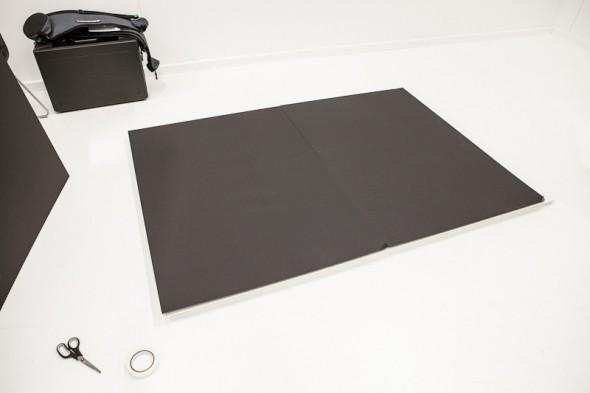 V-flats - sorte plader monteret