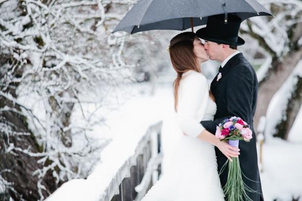 Vinter bryllupsbillede