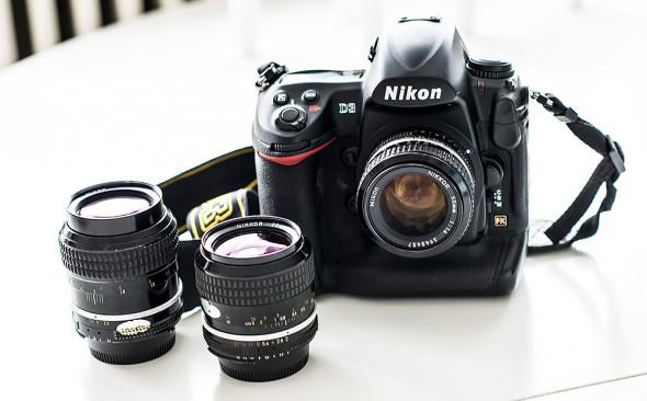 Nikon D3 med manuelle objektiver