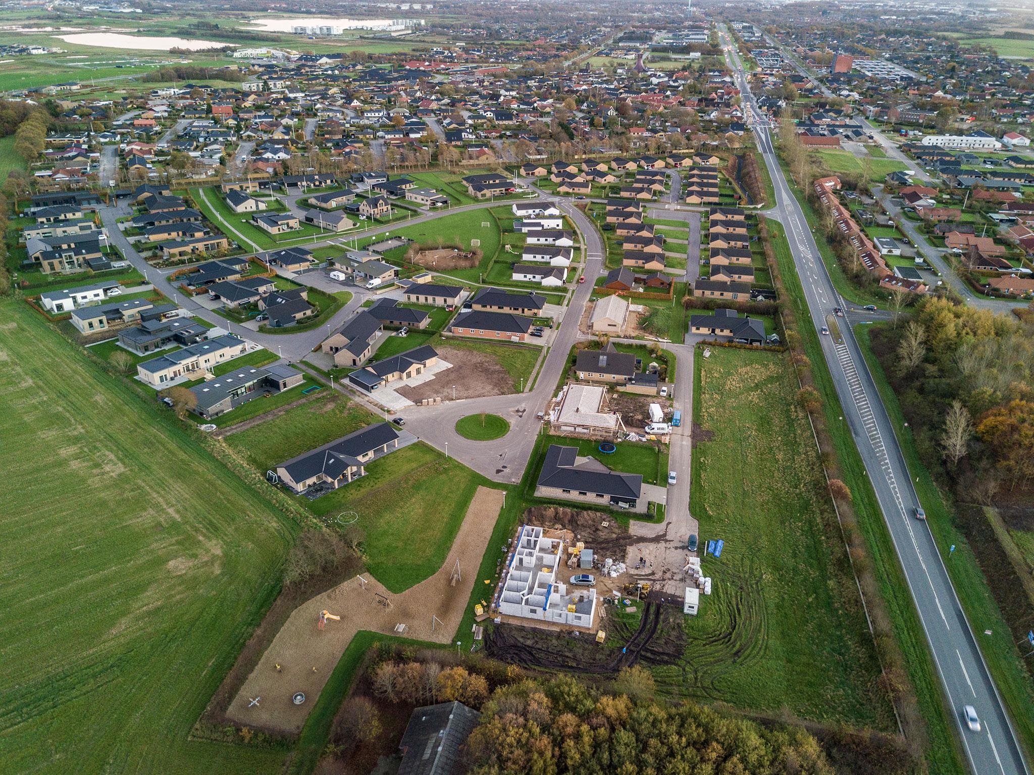 Drone foto af byggeplads