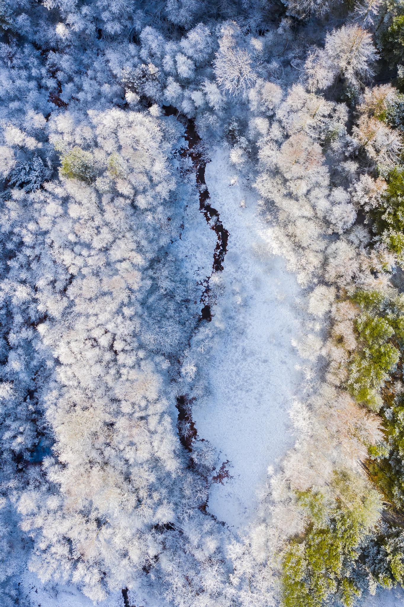 Vinter billeder fra luften af Danmark ved Herning